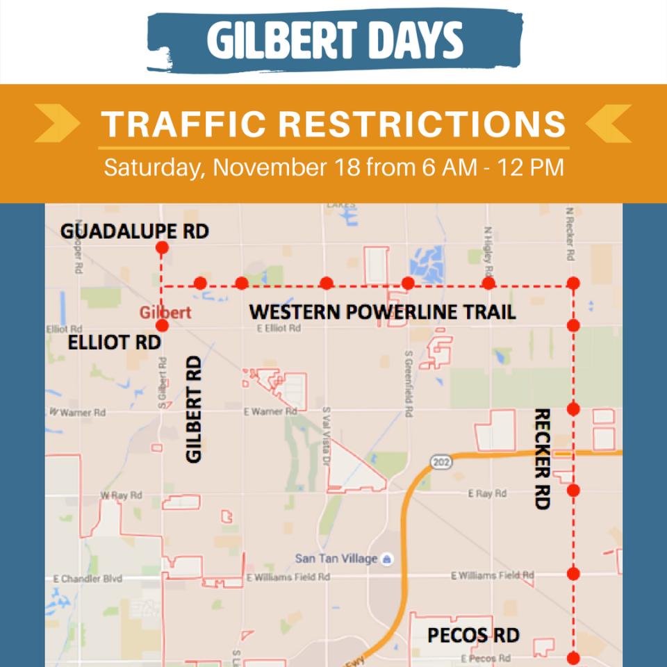Gilbert Days Parade and Marathon Traffic Restrictions Map