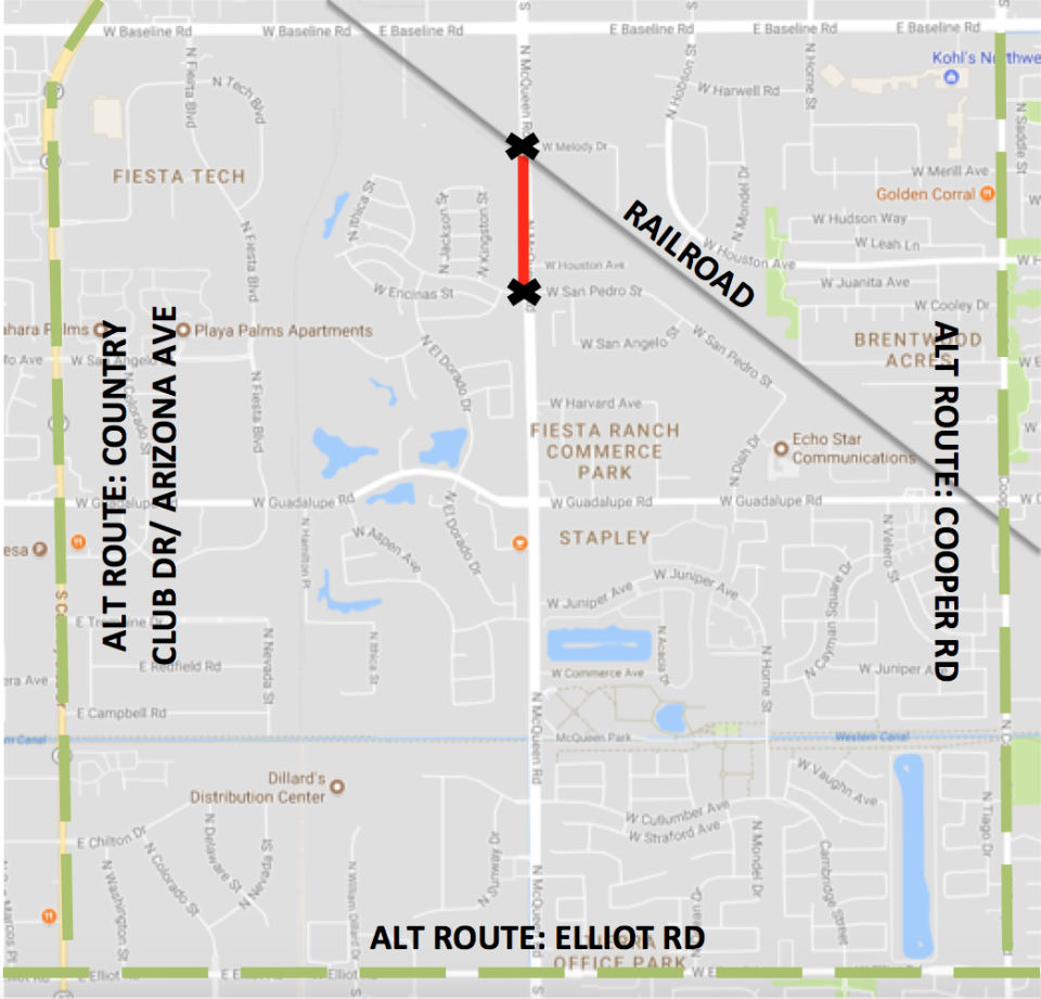 McQueen Road Closure Between Guadalupe and Baseline Roads Map