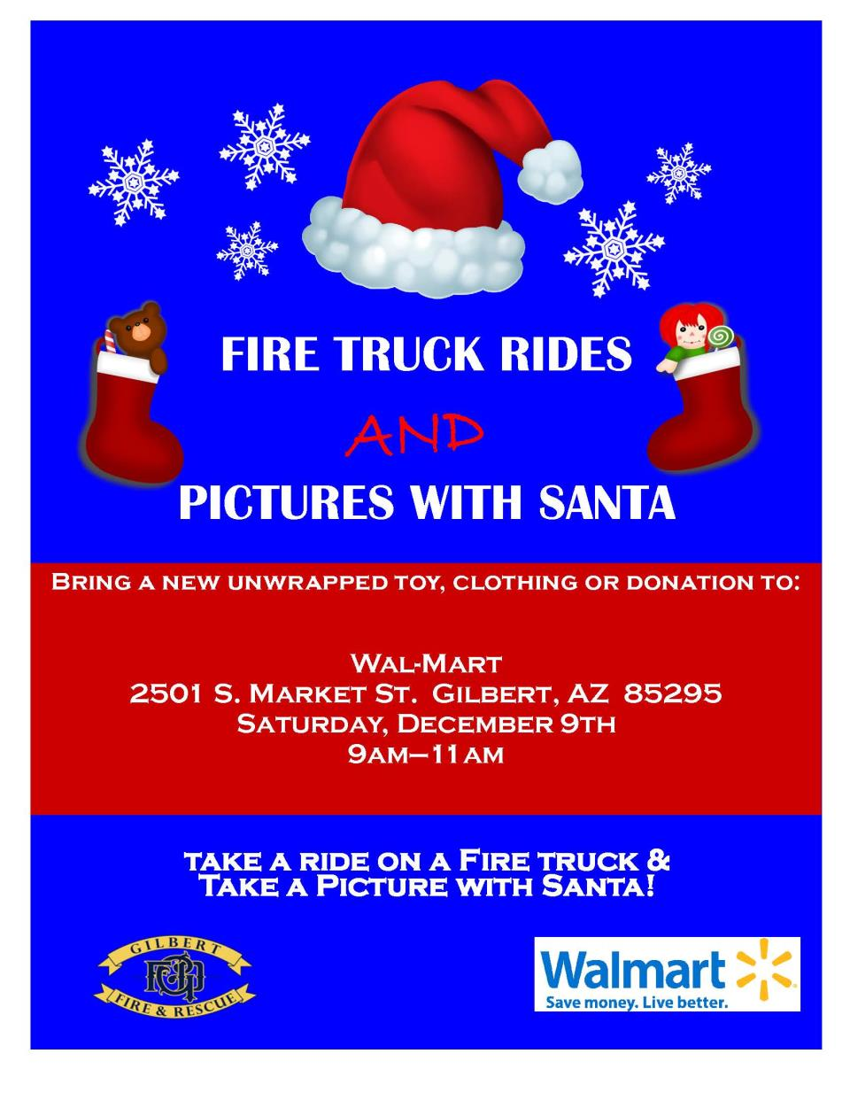 Fire Truck Rides and Photos with Santa Event
