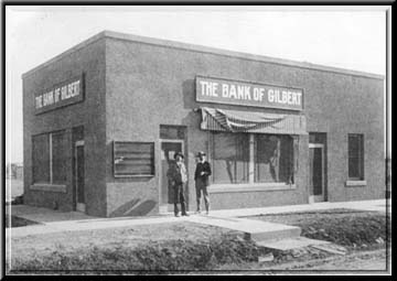 Gilbert's first bank, established in 1917. It was purchased by the Bank of Chandler in 1923, then the Arizona Bank in 1928 before closing in 1931.