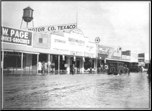 Downtown Gilbert flooded by heavy rains in the early 1930's.
