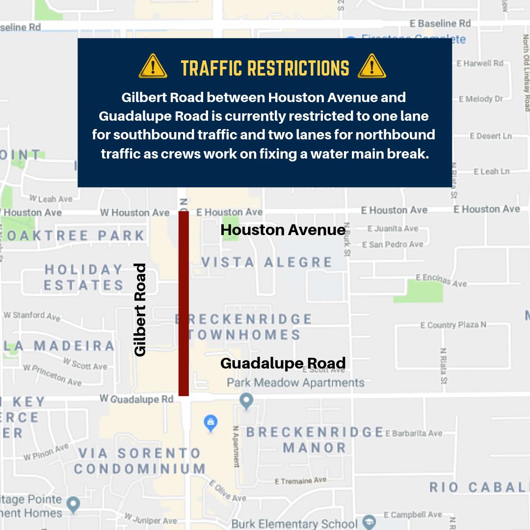 Gilbert Road Restriction - Water main break