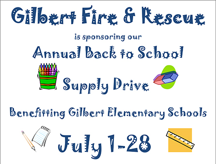 Gilbert Fire Hosts Supply Drive for Local Students