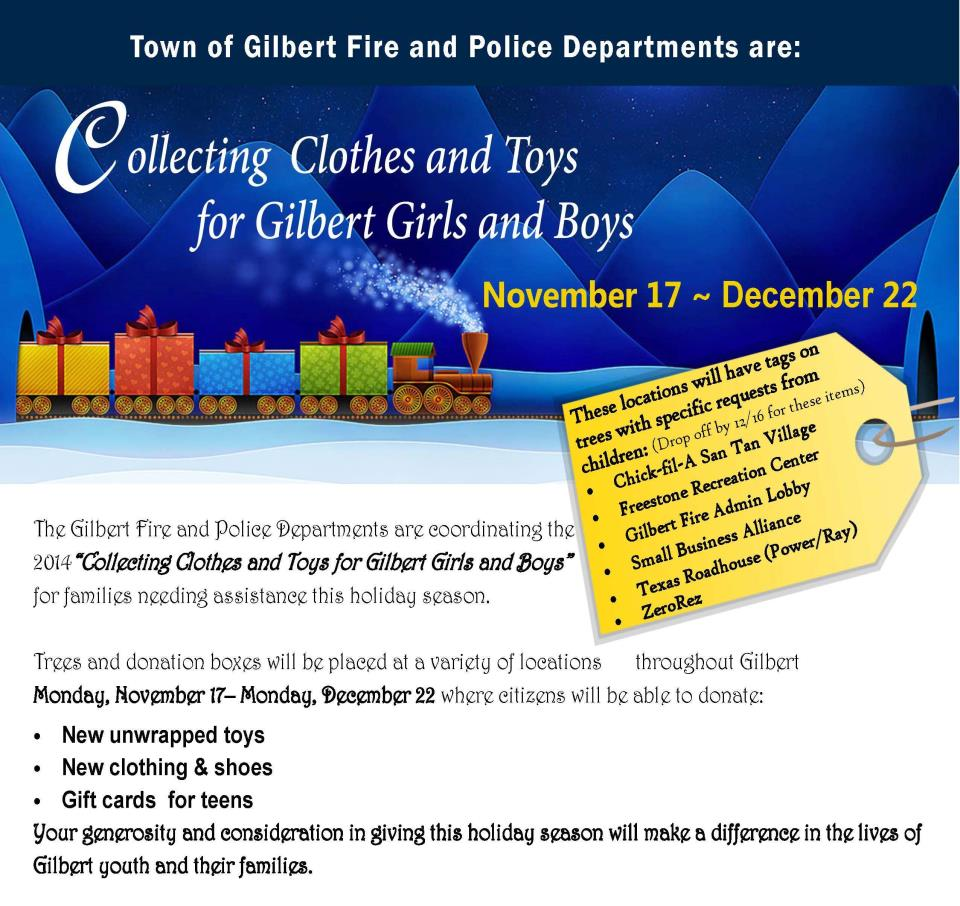 Gilbert Fire & Police Departments Host Annual Toy & Clothing Drive