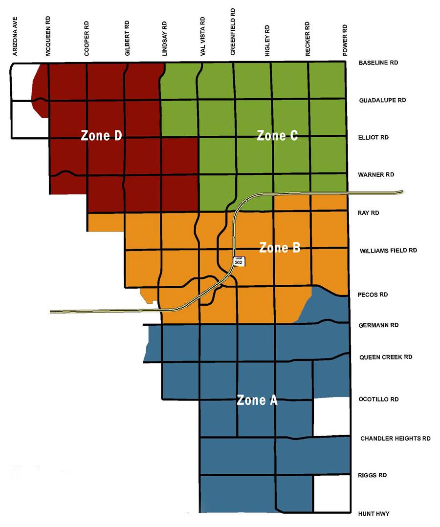 gilbert zip code map