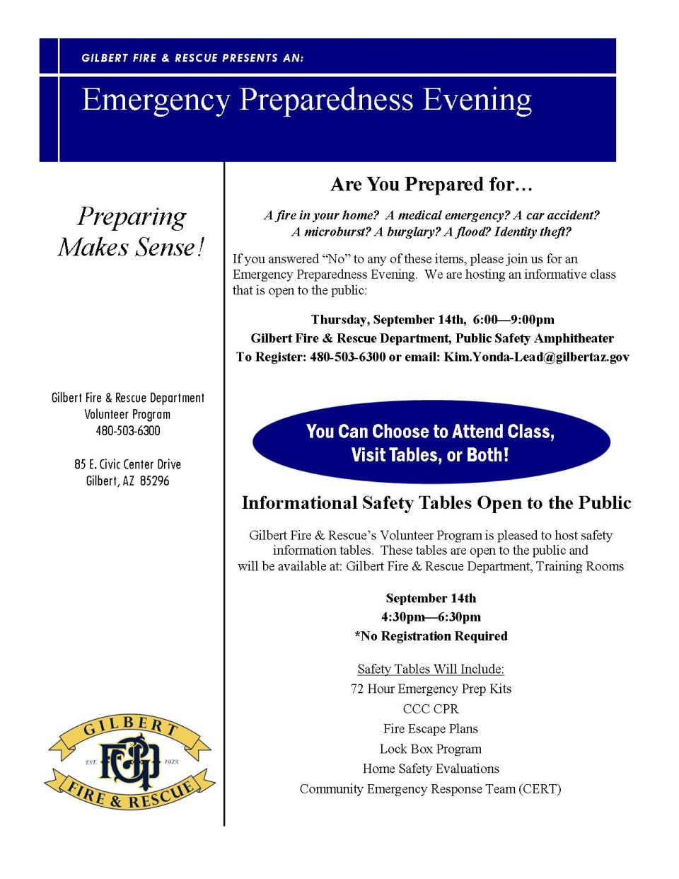Emergency Preparedness Evening flyer