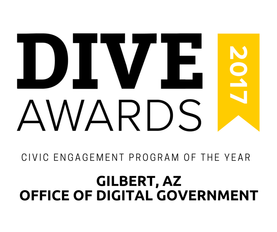 Gilbert, Arizona's Office of Digital Government has been named Civic Engagement Program of the Year by Smart Cities Dive, a leading industry news publisher.