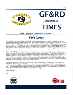 Gilbert Fire and Rescue Volunteer Newsletter Cover