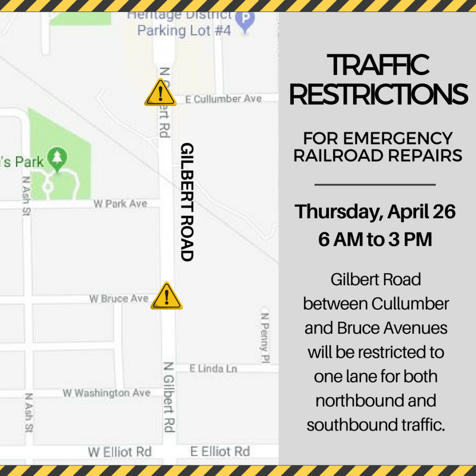 Gilbert Road Restriction For Railroad Repairs