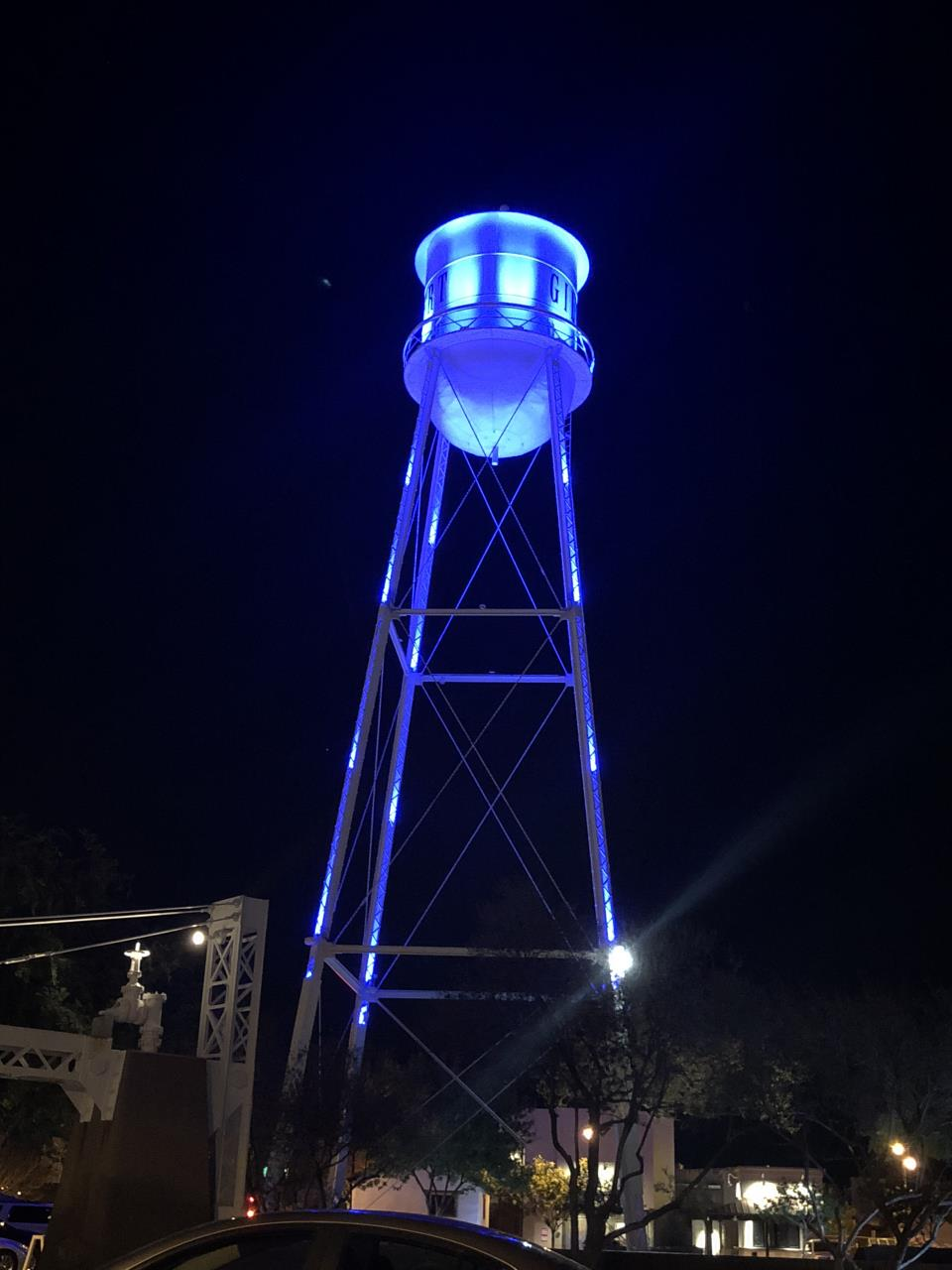 Gilbert Water Tower Lit Up