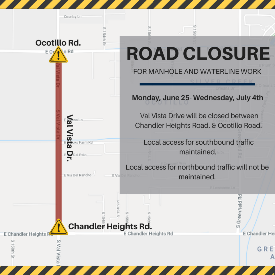 Val Vista Dr. Road Closure