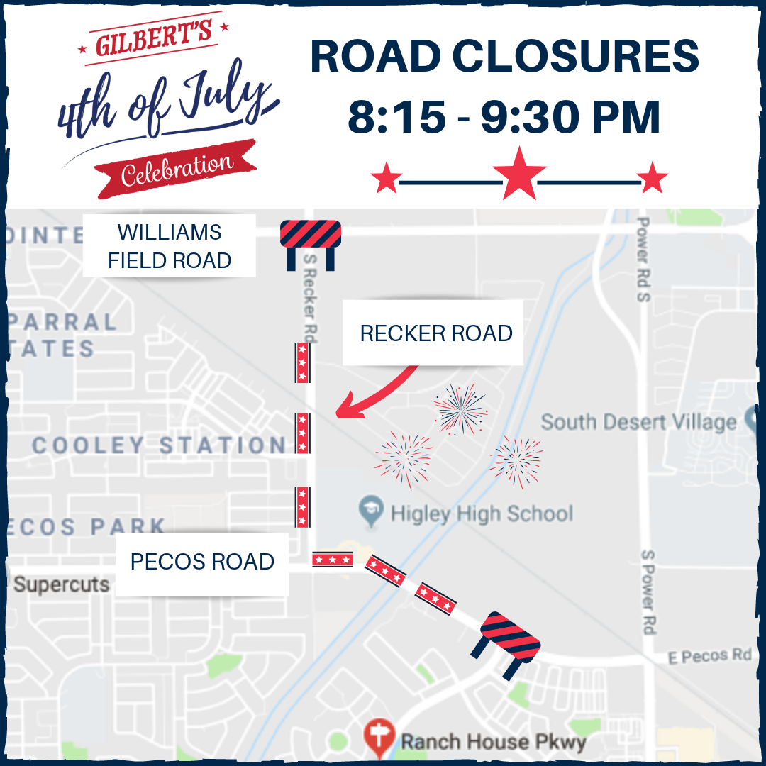 July 4th 2019 Road Closure Map