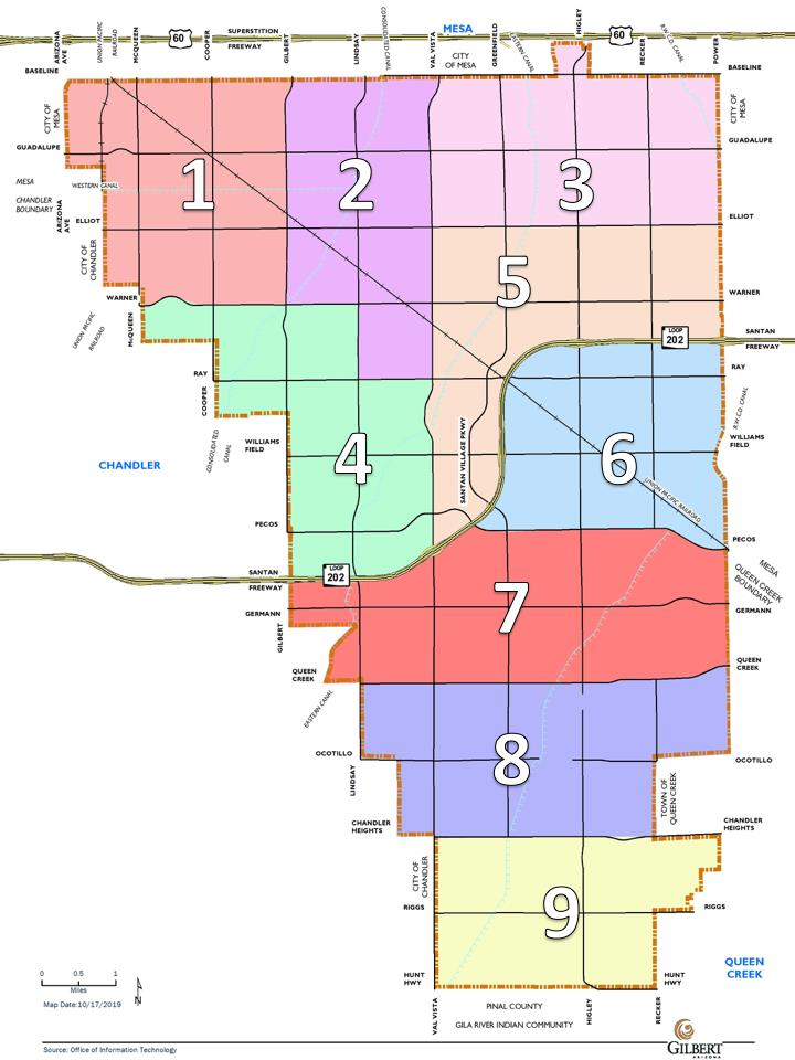 Map of Nine Geographic Sections of Gilbert for Citizens Transportation Task Force
