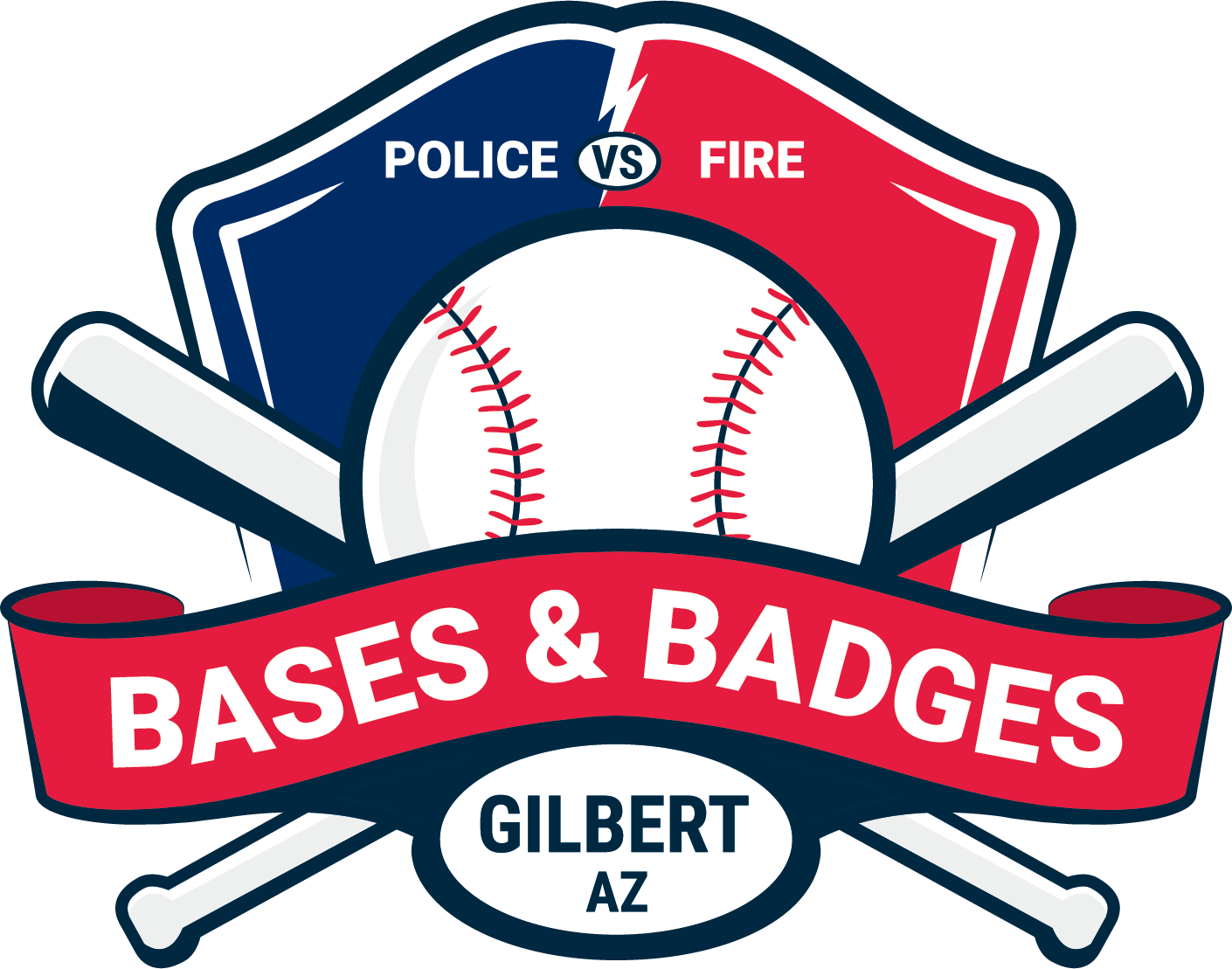 Baseball themed logo for the Bases & Badges event