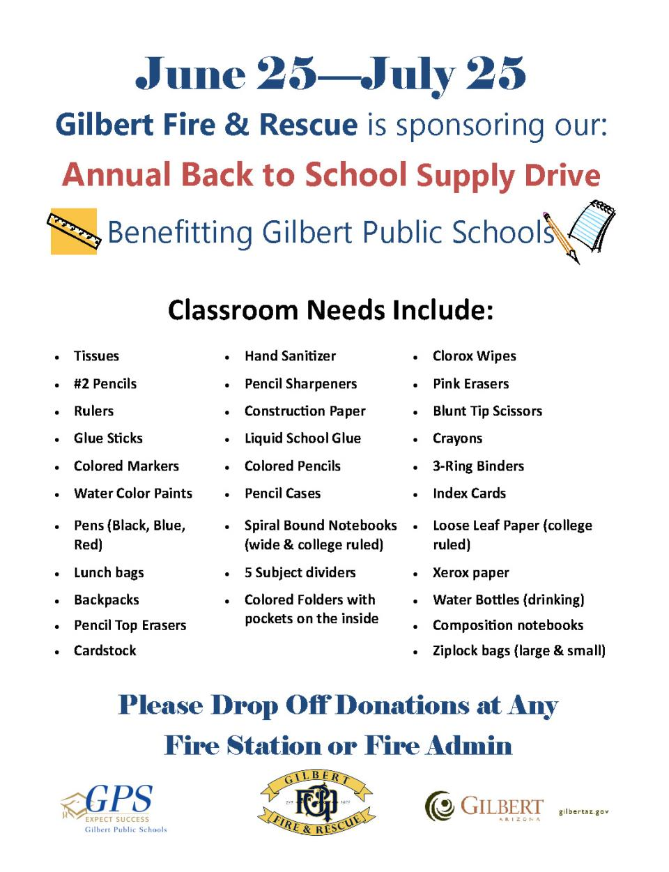 Gilbert Fire and Rescue's Annual Back to School Supply Drive